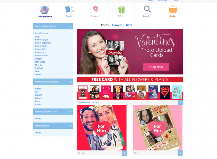 2015 ValentinesDay Marketing Campaigns of 30 UK Multichannel – Moonpig Valentine Cards